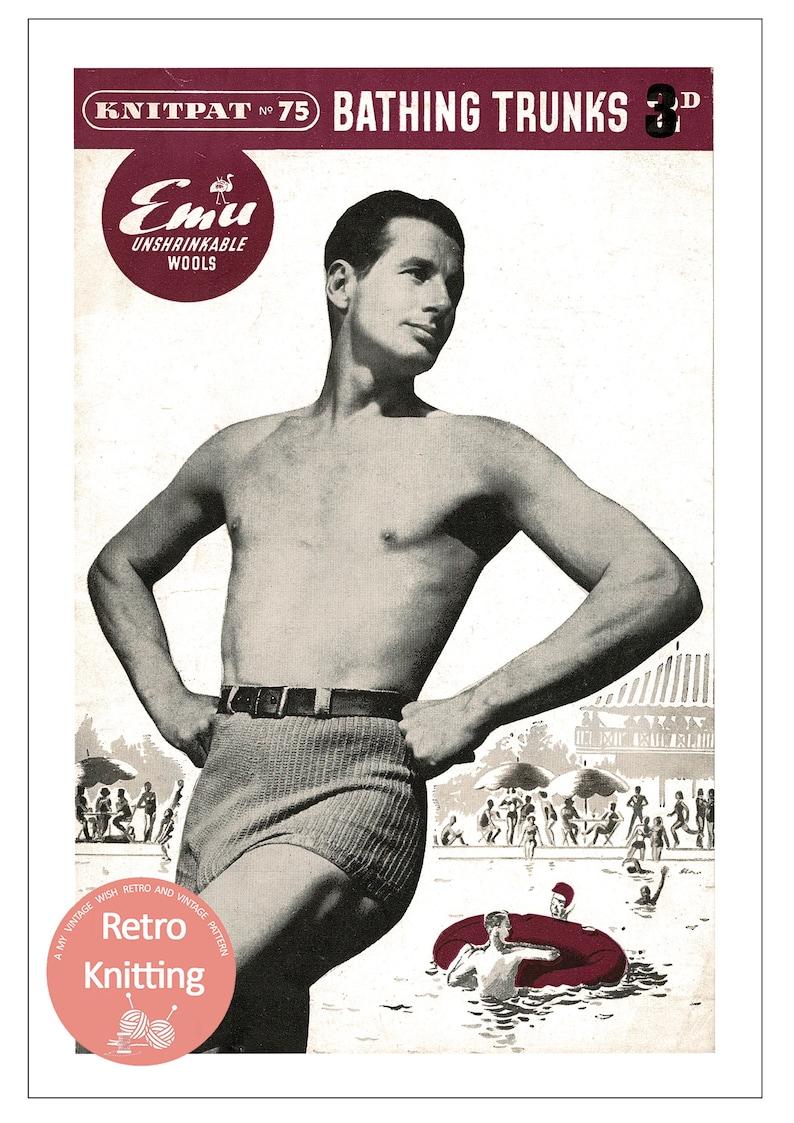 Vintage Men's Swimsuits – 1930s, 1940s, 1950s History 1950s Mens Bathing Trunks PDF Knitting Pattern $4.28 AT vintagedancer.com