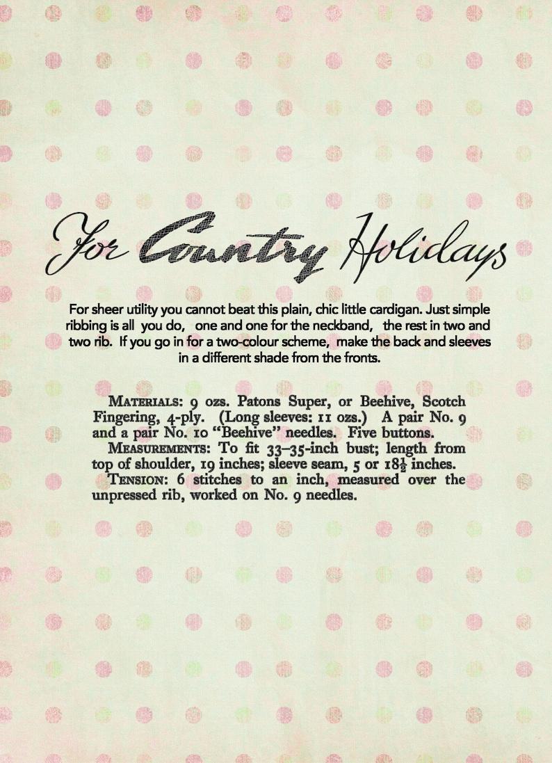 1940/'s Stylish Wartime Puff Sleeve Cardigan PDF Knitting Pattern Bust 33-35