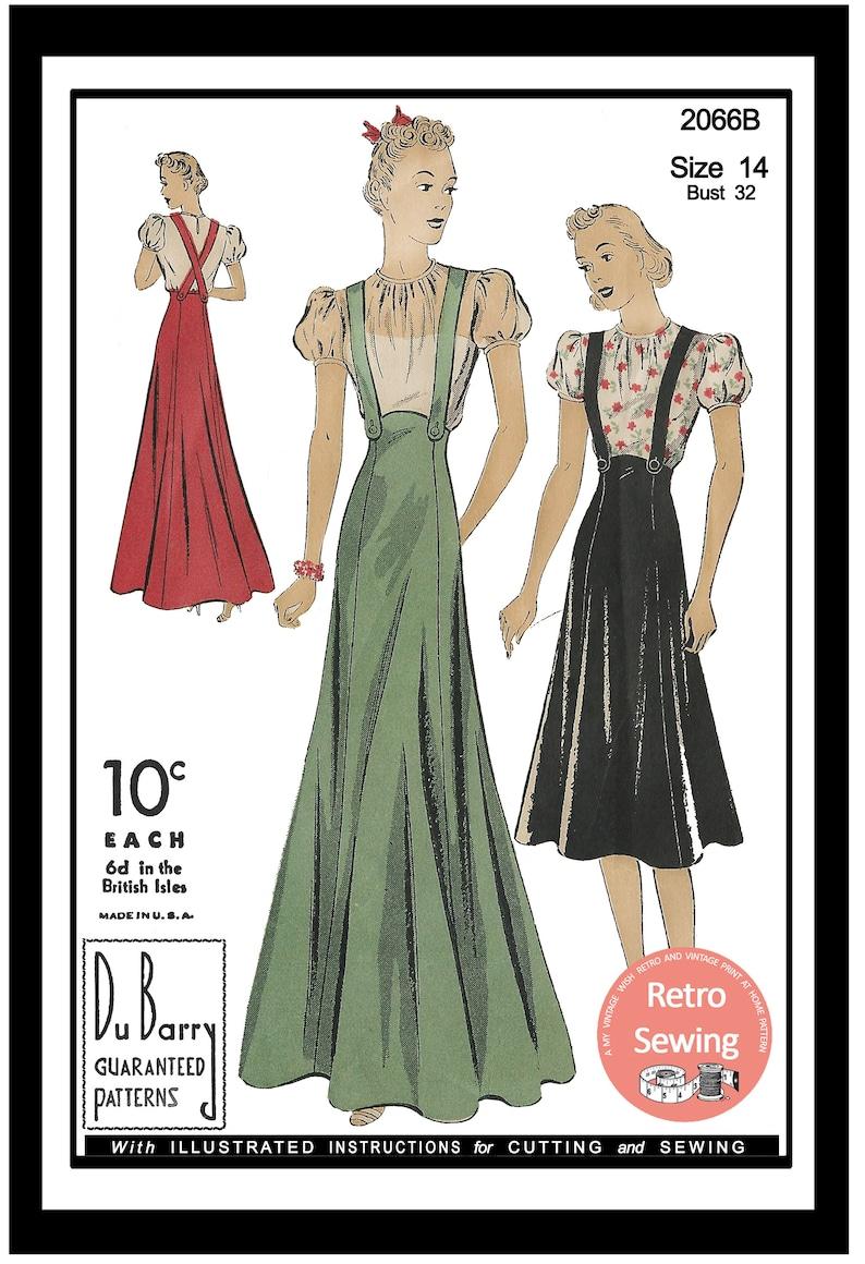 1930s Sewing Patterns- Dresses, Pants, Tops 1930s Blouse and Suspender Skirt Vintage Sewing Pattern - PDF Instant Download $13.04 AT vintagedancer.com