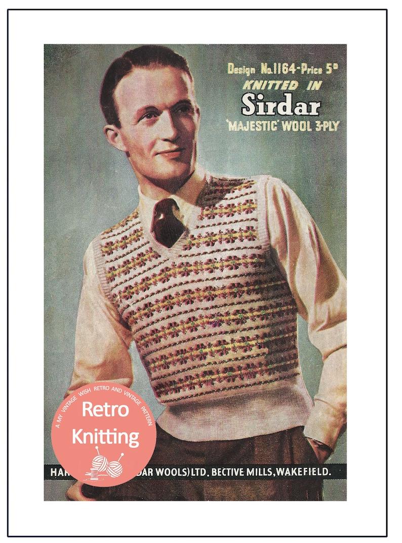 Men's Vintage Reproduction Sewing Patterns 1940s mans Fair Isle Pullover Vintage Knitting Pattern - Instant Download $4.43 AT vintagedancer.com