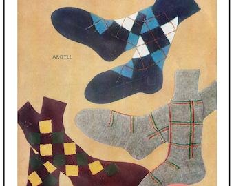 Men's Sock  Vintage Knitting Pattern - PDF  Sock Pattern - PDF Instant Download