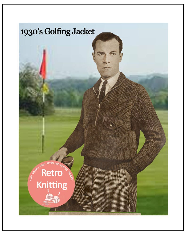 Men's Vintage Reproduction Sewing Patterns 1930s Golf Jacket Vintage Knitting Pattern - PDF Instant Download $4.43 AT vintagedancer.com