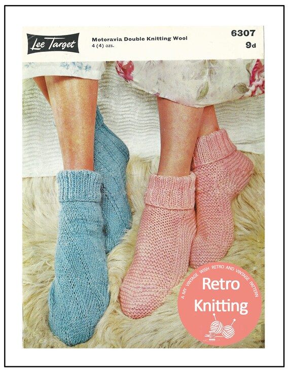 1950s Bed Socks Vintage Knitting Pattern Pdf Instant Etsy