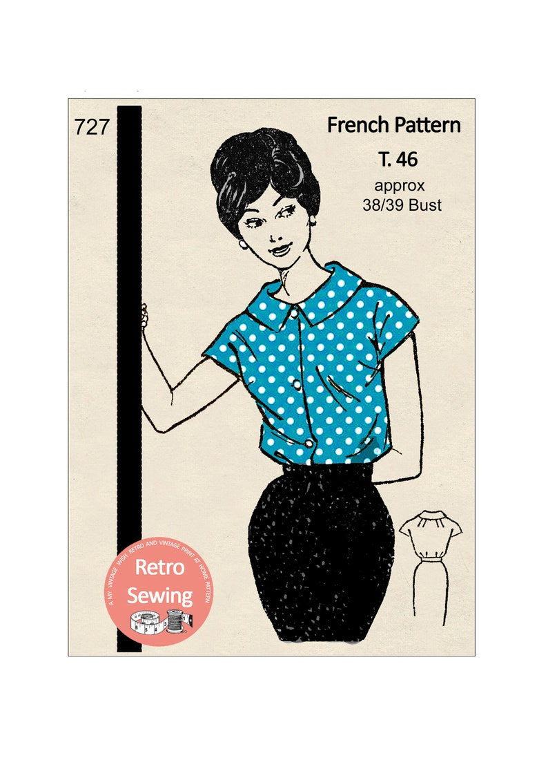 1950s Sewing Patterns | Dresses, Skirts, Tops, Mens 1950s Easy Blouse French Sewing Pattern - PDF Instant Download $8.17 AT vintagedancer.com