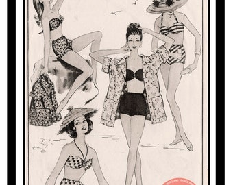 1940's 'California'  Style Bikini Bathing Suit and Jacket  - E pattern PDF Instant download