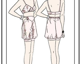 1930's Bra &  Bloomers Sewing Pattern -  Paper Pattern