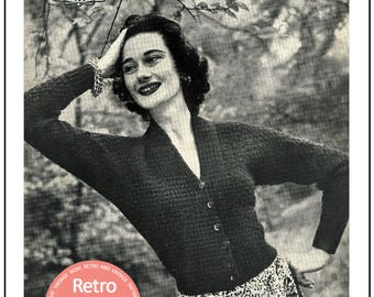 Knitting Pattern 1950s Batwing Cardigan - PDF Knitting Pattern - PDF Instant Download