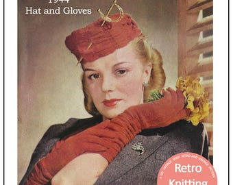 1940s Ruched Gloves and Hat Knitting Pattern - PDF Instant Download