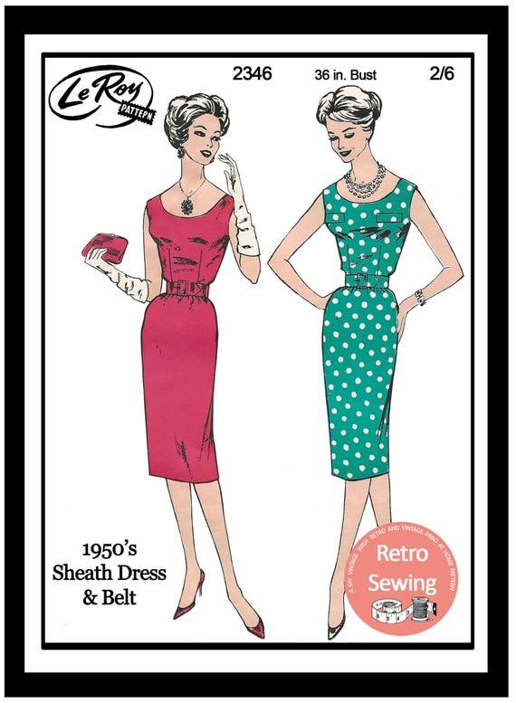 1950s Wiggle/Sheath Dress Sewing Pattern Rockabilly Pin Up | Etsy