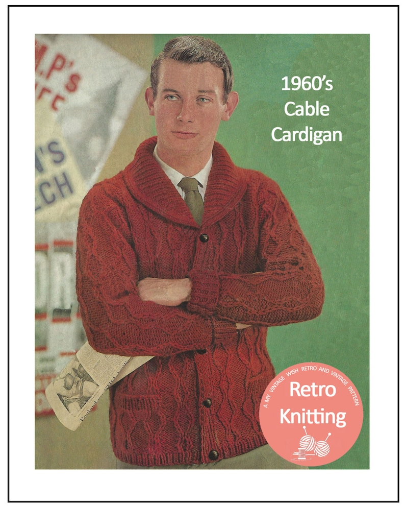 Men's Vintage Reproduction Sewing Patterns 1960s His Chunky Knit Cardigan Pattern – PDF Instant Download $4.43 AT vintagedancer.com