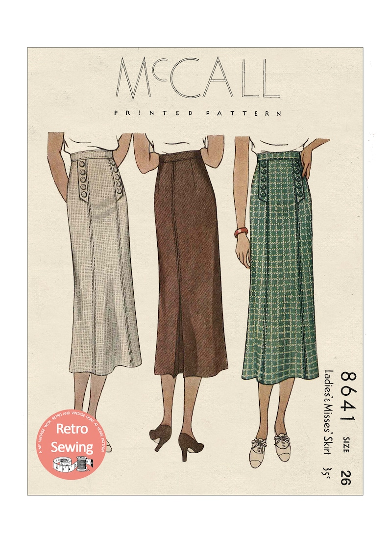 1930s Sewing Patterns- Dresses, Pants, Tops 1930s Panelled Skirt with Buttoned Bands PDF Sewing Pattern Waist 26 $13.77 AT vintagedancer.com