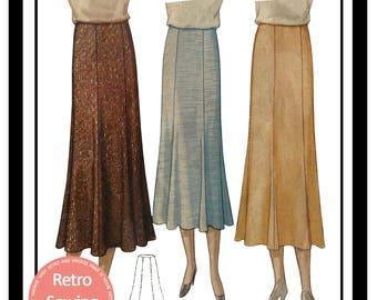 1930s Panel Skirt Sewing Pattern -  PDF Skirt Sewing Pattern - PDF Instant Download