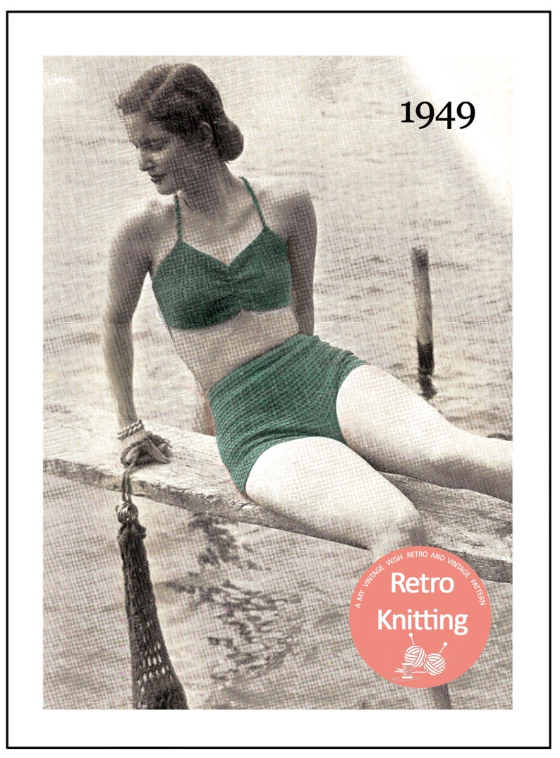 ba093d2521070 1940s Two Piece Swimsuit Vintage Knitting Pattern PDF