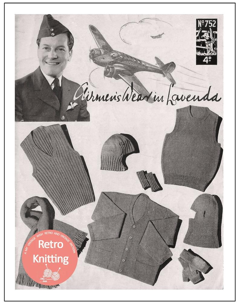 Men's Vintage Reproduction Sewing Patterns 1940s Wartime Service Knits for Airmen PDF Pattern Booklet $7.73 AT vintagedancer.com