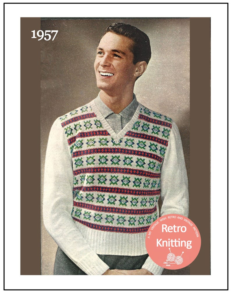 1950s Sewing Patterns | Dresses, Skirts, Tops, Mens 1950s Fair Isle Pullover Vintage Knitting Pattern - PDF Instant Download - PDF Knitting Pattern $4.43 AT vintagedancer.com