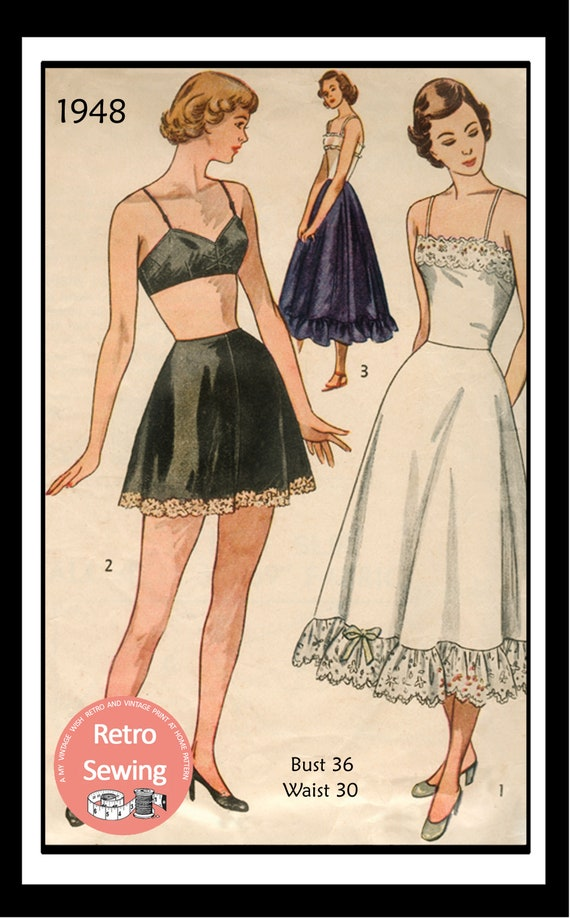 1940 Muster Dessous BH Shorts und Petticoat Papier Muster   Etsy
