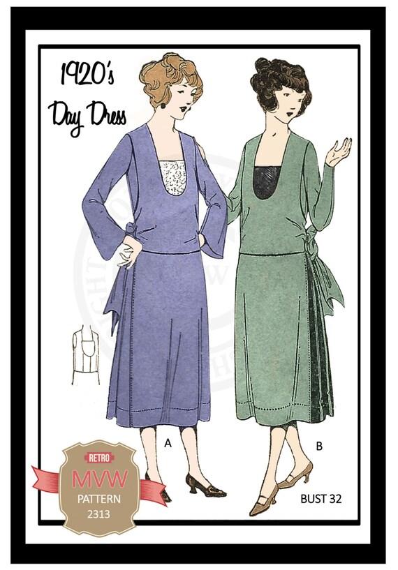 Tag der 1920er-Jahre Dress Schnittmuster-volle Größe | Etsy