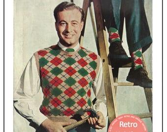 1950s men's Argyll Pullover & Socks Vintage Knitting Pattern - PDF Instant Download - PDF Knitting Pattern