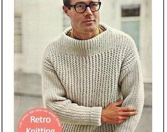 1950's Men's Chunky Knit Sweater PDF Knitting Pattern