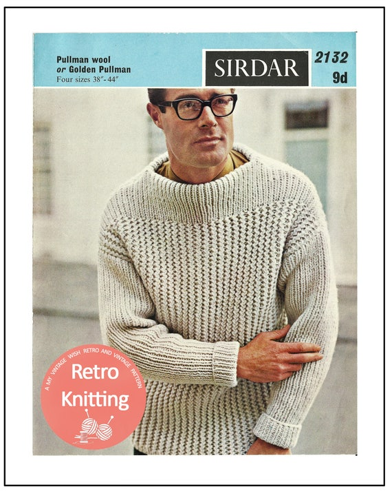 195060s Mans Sweater Knitting Pattern Hipster Pdf