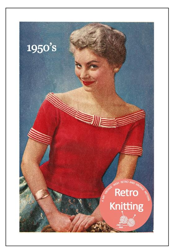 1950s Glamorous Off Shoulder Pin Up Sweater Knitting Pattern