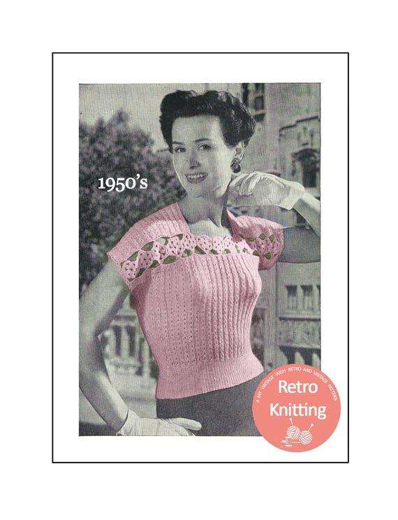 f7ccea9f1007 1950s Crochet Trim Sweater Knitting Pattern PDF Instant