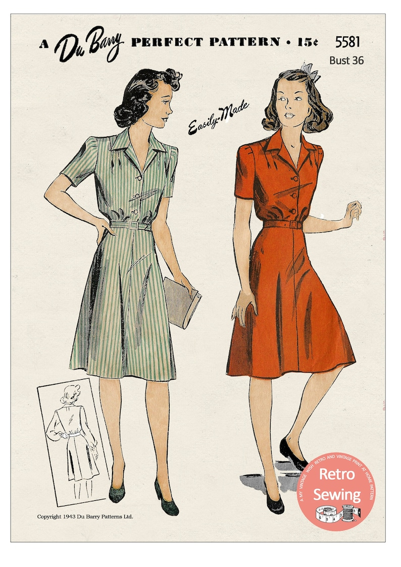 1940s Fabrics and Colors in Fashion Wartime Shirt-Waist Dress Bust 36 - PDF Sewing Pattern Du Barry 5581 $12.94 AT vintagedancer.com