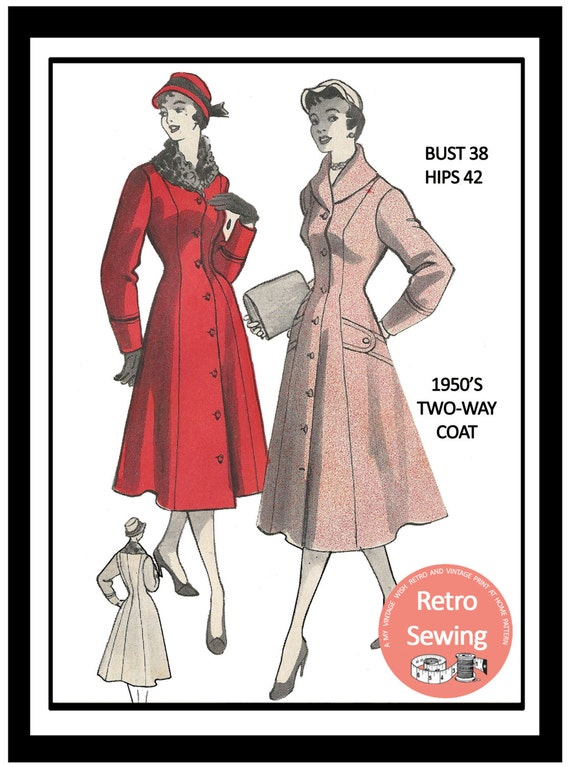 1950s Sewing Patterns | Swing and Wiggle Dresses, Skirts 1950s Two Way Coat Sewing Pattern - Rockabilly - Pin Up - PDF Sewing Pattern - Instant Download $14.93 AT vintagedancer.com