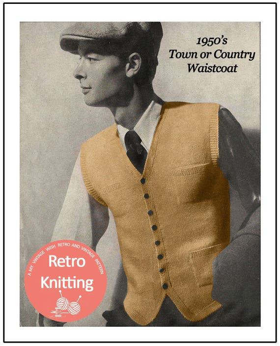 1950's Country Gentleman's Waistcoat Knitting Pattern | Etsy