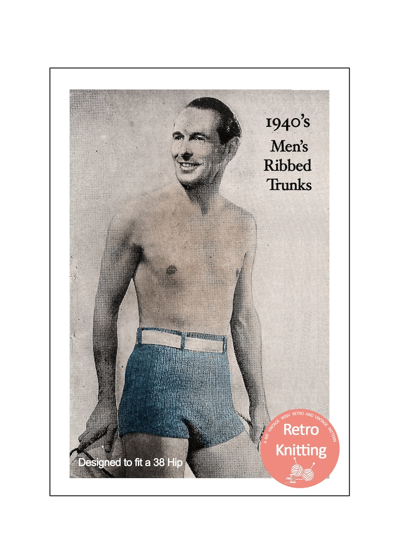 Vintage Men's Swimsuits – 1930s, 1940s, 1950s History 1940s Mans Swimming Trunks PDF Knitting Pattern $4.28 AT vintagedancer.com