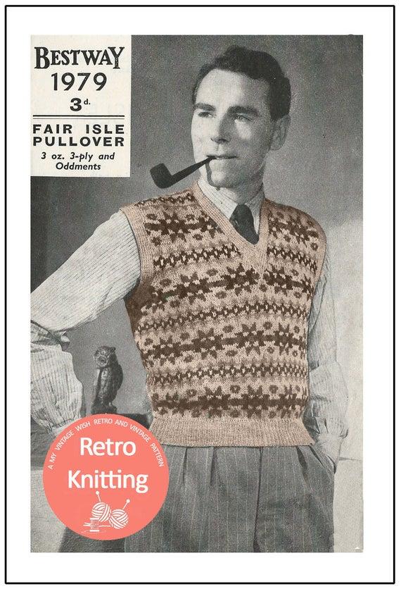 1940s Fairisle Pullover Vintage Knitting Pattern Pdf Etsy