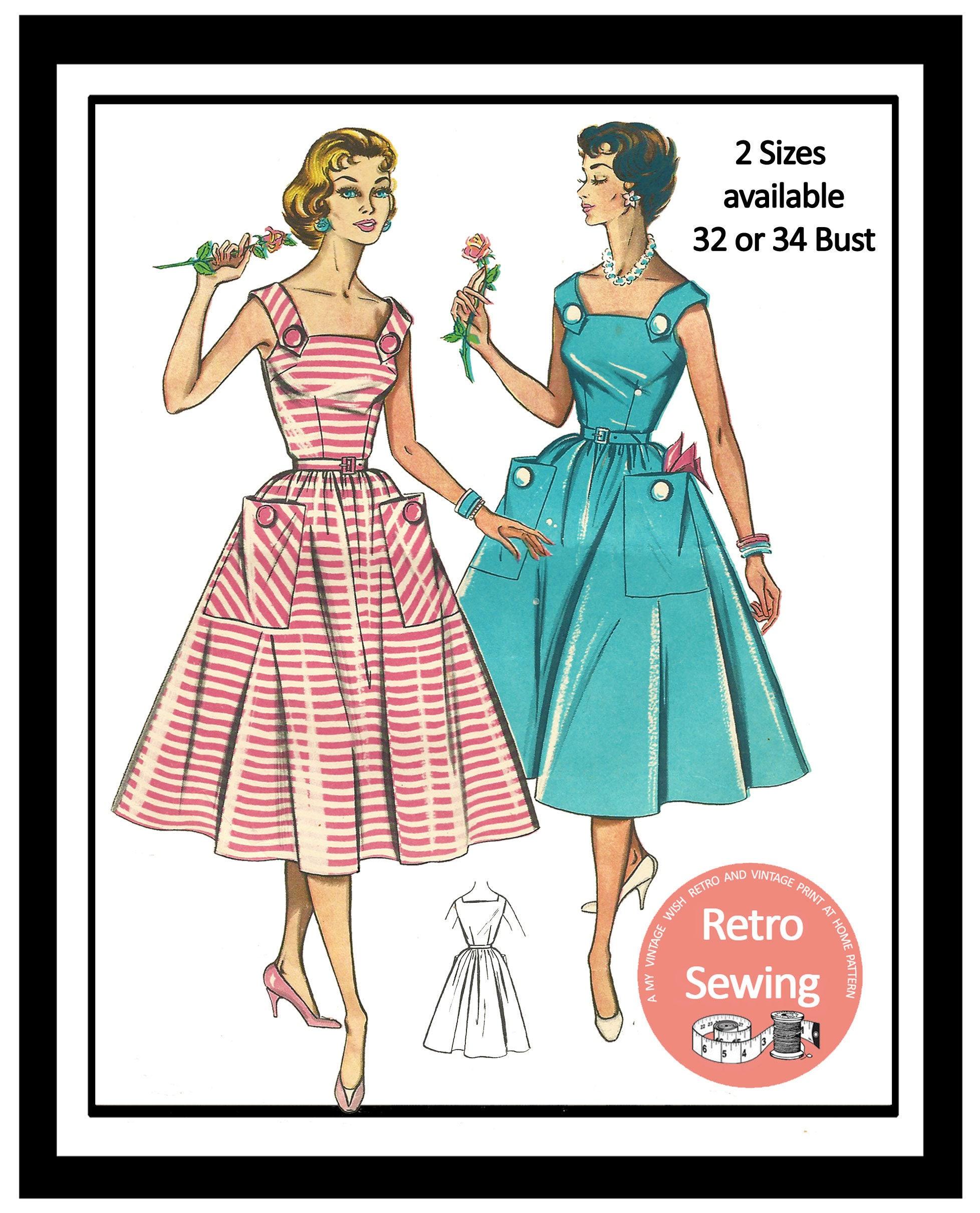 patron de couture robe d t rockabilly ann es 1950 pin up etsy. Black Bedroom Furniture Sets. Home Design Ideas