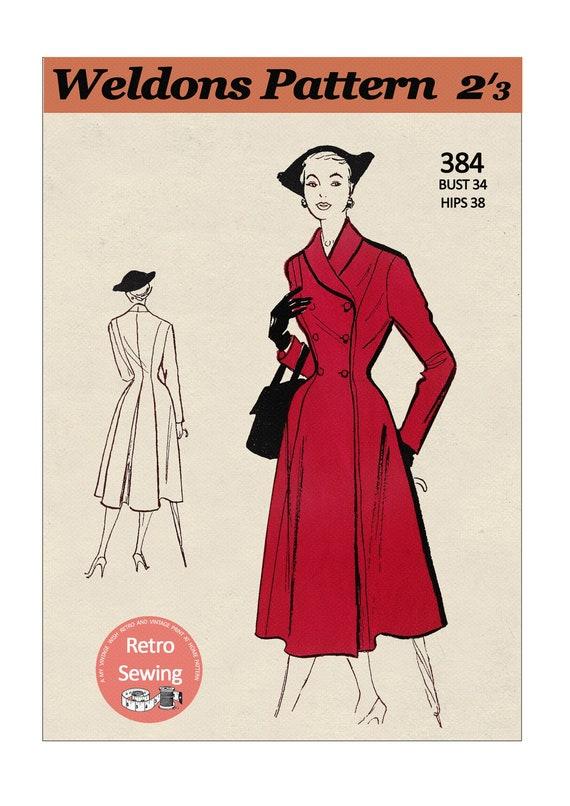 Rockabilly 1950/'s Princess Roll Collar Coat Sewing Pattern Pin Up