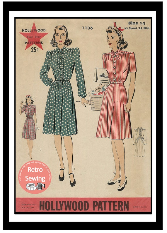1940s Dresses | 40s Dress, Swing Dress 1940s Wartime High Neck Pussy Bow Tea Frock - PDF Instant download Sewing Pattern $11.72 AT vintagedancer.com