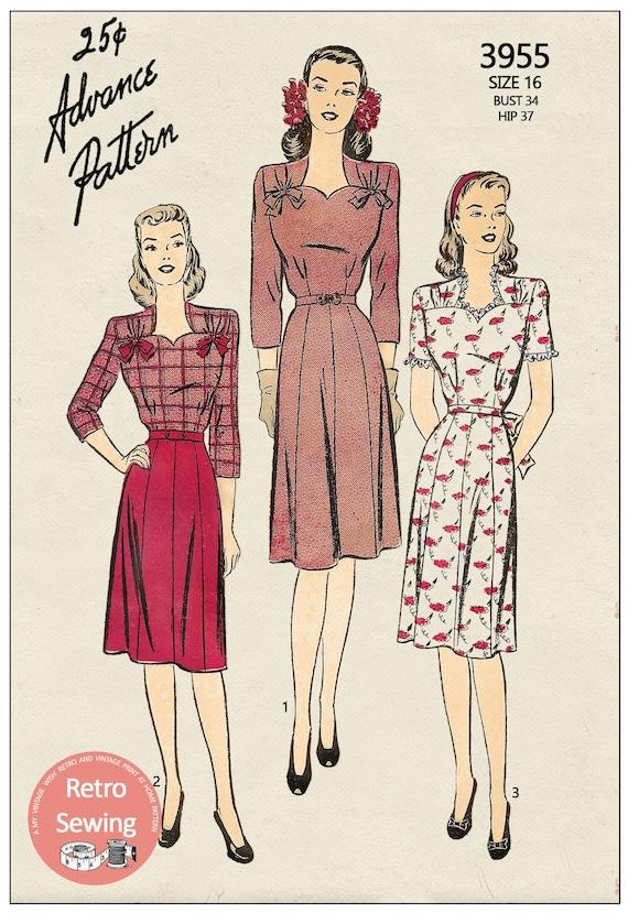 """Vintage 1940/'s Sewing Pattern Women/'s Pretty Frock Tea Dress Wedding Bust 32/"""""""