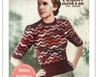 1940s Argyll Sweater Knitting Pattern - PDF Instant Download