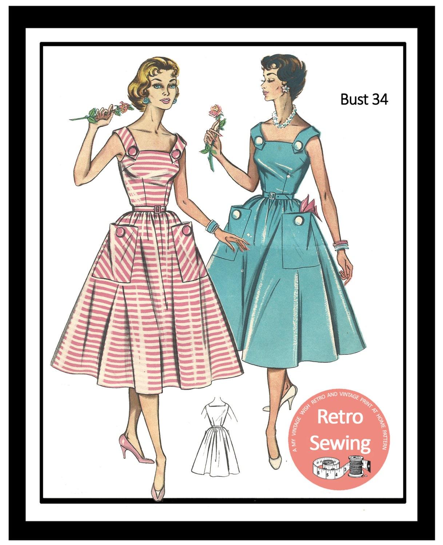 1950s Summer Dress Sewing Pattern B34 Rockabilly Pin Up | Etsy