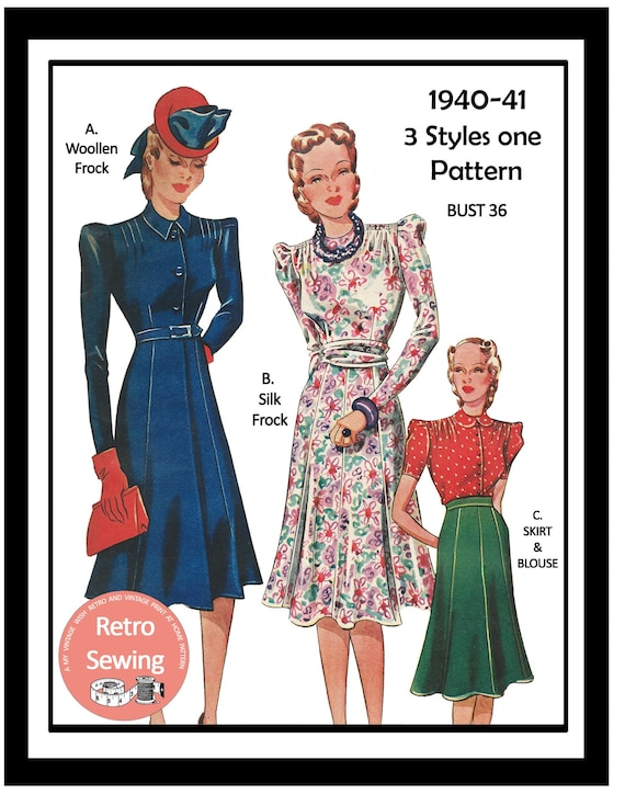 1940s Fabrics and Colors in Fashion  1940s Wartime Tea Frock Skirt and Blouse Sewing Pattern PDF Instant Download $11.72 AT vintagedancer.com