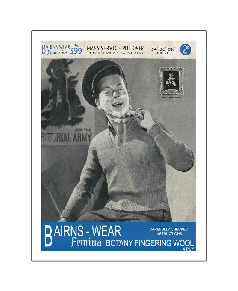 Men's Vintage Reproduction Sewing Patterns 1940s Mans Service Pull-Over Vintage Knitting Pattern - PDF Instant Download - PDF Knitting Pattern $4.43 AT vintagedancer.com