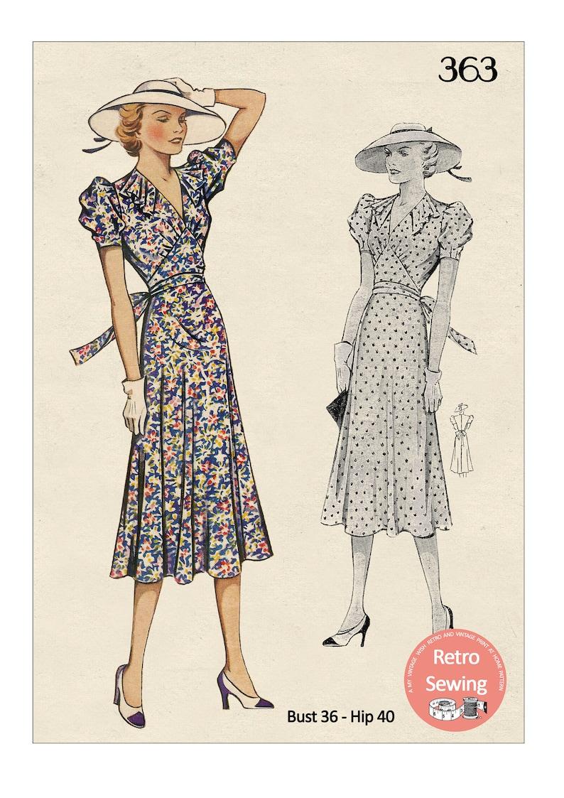 1930's Flirty Puff Sleeve Tea Frock PDF Sewing Pattern image 0