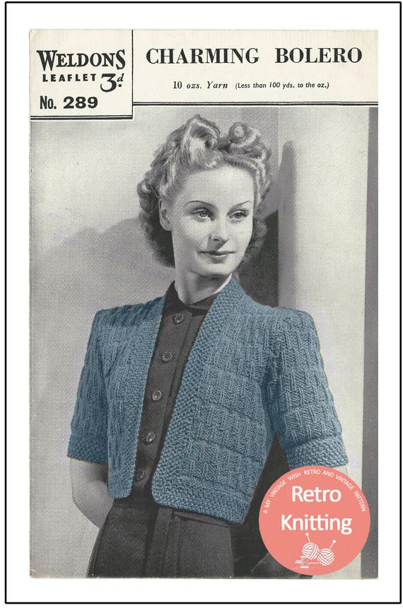 1940s Wartime Bolero Knitting Pattern Instant Download Etsy