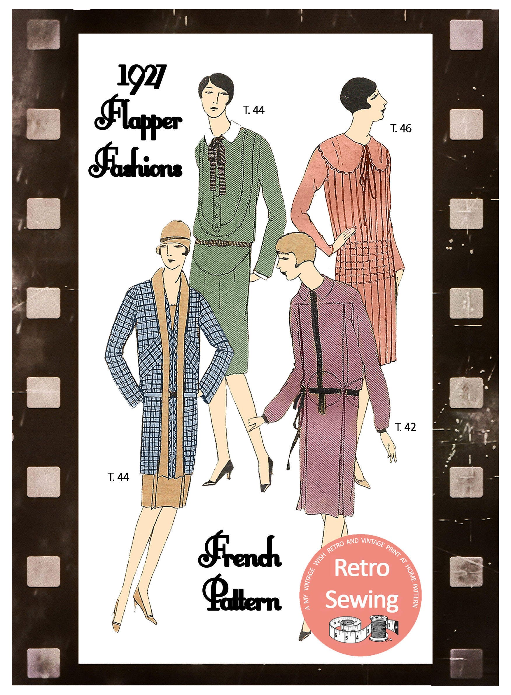 1920s Dresses French Sewing Pattern PDF Sewing Pattern | Etsy