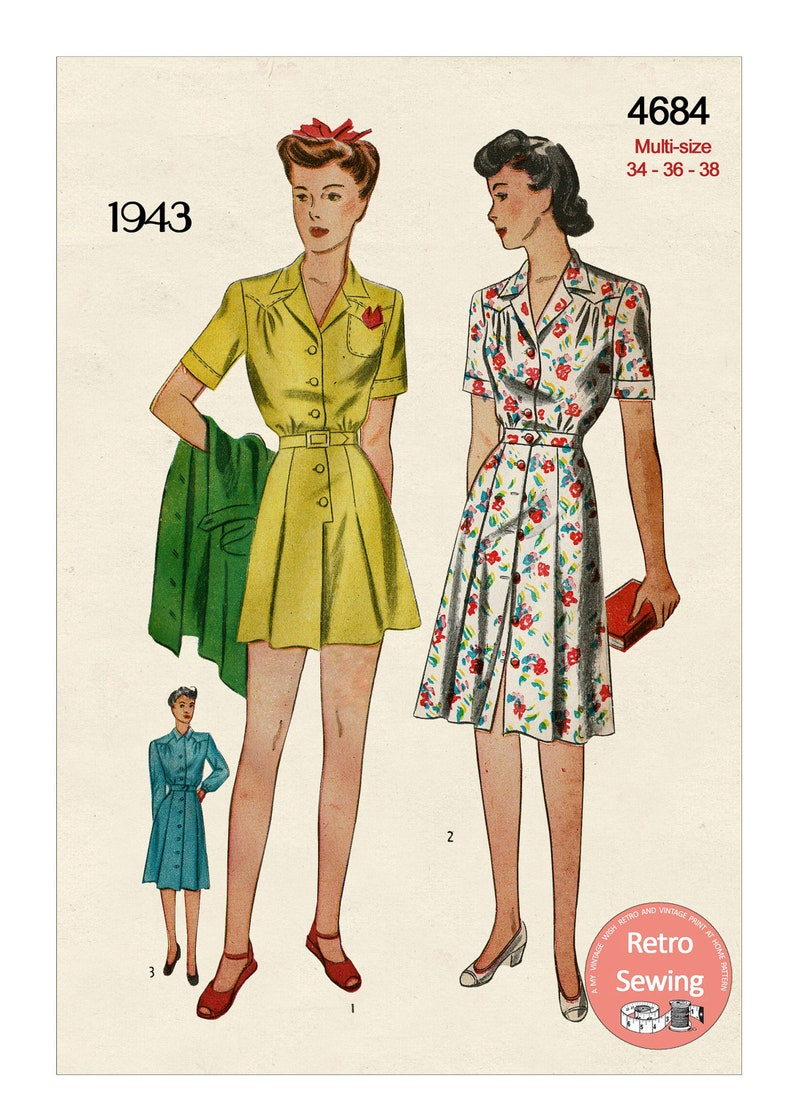 40s-50s Vintage Playsuits, Jumpsuits, Rompers History 1940s Playsuit and Skirt PDF Sewing Pattern Bust 34 - 36 - 38 $14.68 AT vintagedancer.com