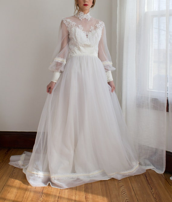 Romantic 1970's chiffon wedding gown / high neck /
