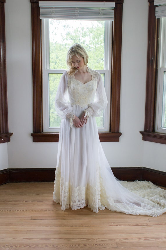 1970's Lace and Chiffon Wedding Gown / bishop slee