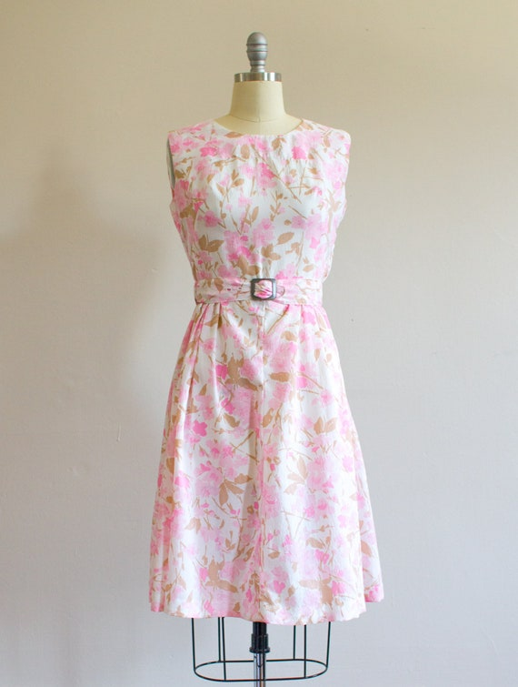 1950's Cherry Blossom Dress/ Size S/M