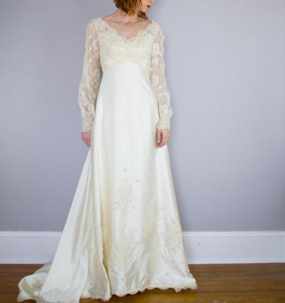 Priscilla of Boston wedding gown / 1970's / poet … - image 1