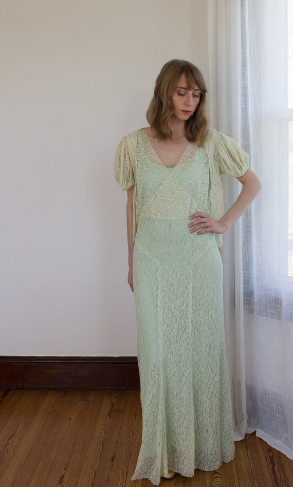 1930's chartreuse lace dress with matching bolero