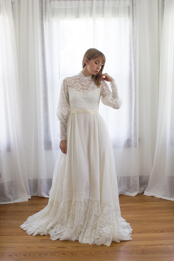 Late 1960's victorian style chiffon and lace weddi