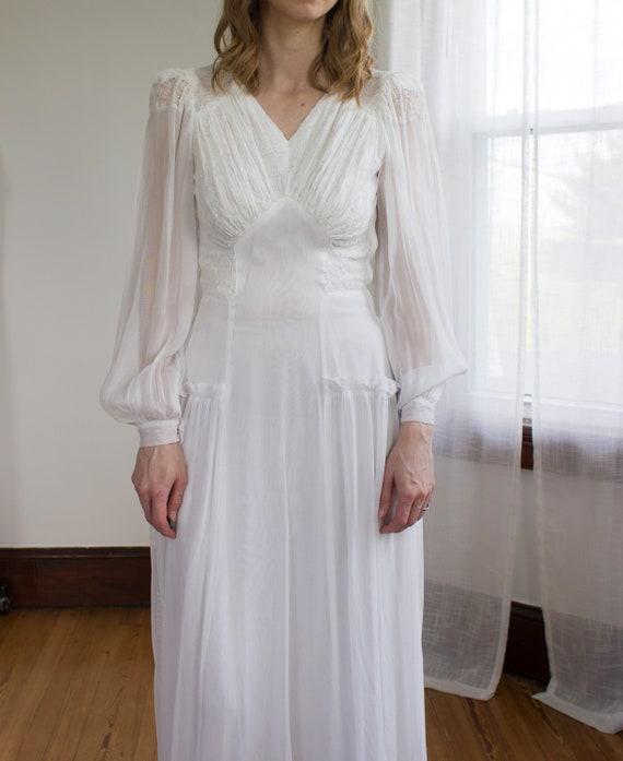 1930's chiffon bishop sleeve wedding gown / dress… - image 6